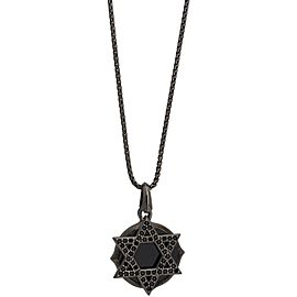 Stephen Webster 925 Sterling Silver Black Sapphire Jewish Star Double Plate Pendant Necklace
