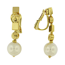 Bulgari 18K Yellow Gold Lucea Pearl Classy Clip On Earrings