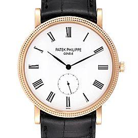 Patek Philippe Calatrava Rose Gold White Enamel Dial Mens Watch 5119