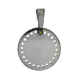 Gurhan 925 Sterling Silver Edge Shiny Large Round Pendant Necklace