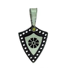 Gurhan 925 Sterling Silver Edge Shiny Small Shield Kite Flower Pendant