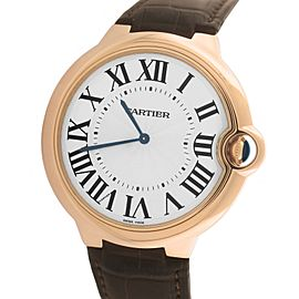 Cartier Ballon Bleu W6920054/3376 18K Rose Gold & Leather Manual 46mm Mens Watch