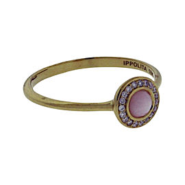 Ippolita 18K Yellow Gold with Diamonds and Pink Opal Lollipop Ring Size 7