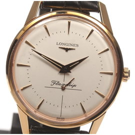 Longines Flagship L4.746.8 18K Rose Gold & Leather Quartz 35mm Men's Watch