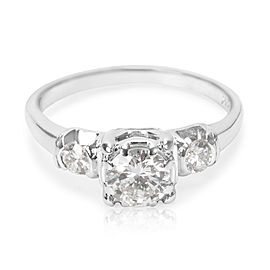 18K White Gold with 0.65ct. Three Stone Diamond Engagement Ring Size 4.75