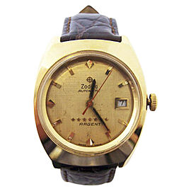 Zodiac 7 Star Argent 18K Yellow Gold Vintage 37mm Mens Watch
