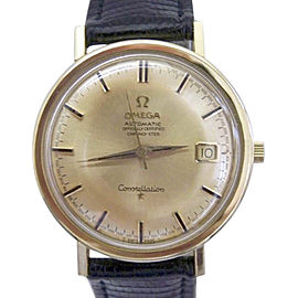 Omega Constellation 18K Yellow Gold / Leather Vintage 35.5mm Mens Watch