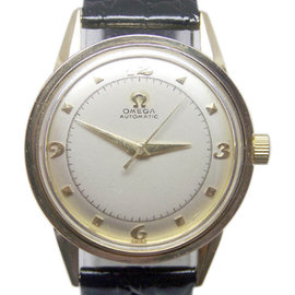 Omega 6552 14K Yellow Gold / Leather Vintage 33.6mm Mens Watch