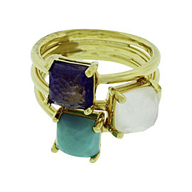 Ippolita 18K Yellow Gold with Mother of Pearl, Turquoise and Iolite Rock & Candy Ring Size 7