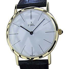 Ebel 18K Yellow Gold & Leather White Dial Manual 32mm Mens Watch