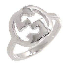 Gucci Interlocking 18K White Gold Logo Ring Size 5.5