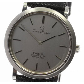 Omega Constellation Stainless Steel / Leather Automatic Vintage 34mm Mens Watch