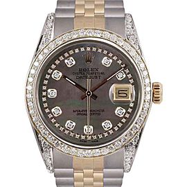 Rolex Datejust Two Tone Custom Black Mother of Pearl String Diamond Dial 36mm Unisex Watch