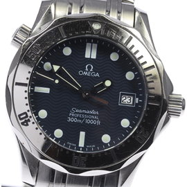Omega Seamaster Professional 300 2562.80 Date Stainless Steel Navy Dial Quartz 36mm Mens Watch
