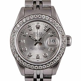 Rolex Datejust Stainless Steel-Silver Diamond Dial and Bezel 26mm Womens Watch