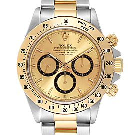 Rolex Daytona Steel Yellow Gold Inverted 6 Mens Watch 16523 Box Papers