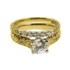 Scott Kay 19K Yellow Gold & Platinum with Diamond Engagement Ring Size 7