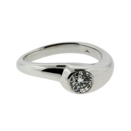 Hearts on Fire 18K White Gold with Solitaire .42ct Diamond Engagement Ring Size 6.5
