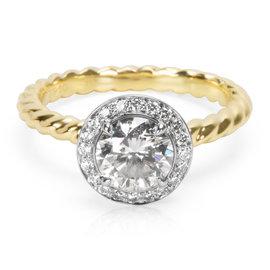 David Yurman Capri 18K Yellow Gold 1.04ct. Diamond Engagement Ring Size 5