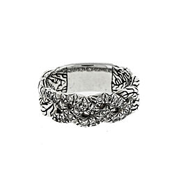 John Hardy 925 Sterling Silver Braided 0.24ctw Diamond Classic Band Ring Size 7.25