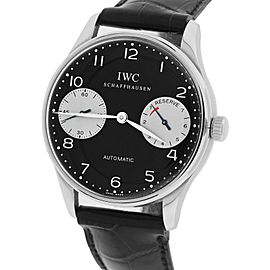 IWC Portuguese 5000-01 500001 Stainless Steel with Black Dial 42.30mm Mens Watch