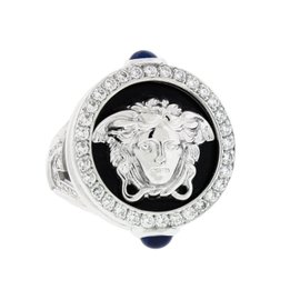 Versace 18K White Gold with Diamond Medusa Greca Ring Size 8.5