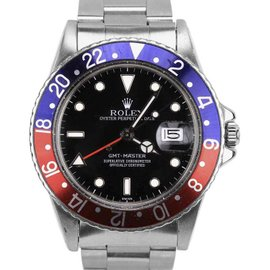Rolex GMT-Master Date Swiss 16750 Pepsi Blue Red Stainless Steel 40mm Mens Watch 1982