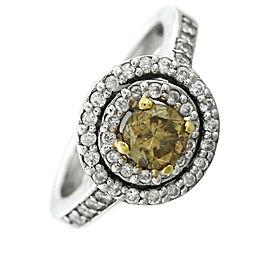 Effy 14K White Gold 0.92ctw Brown Diamond Halo Engagement Ring Size 5.75