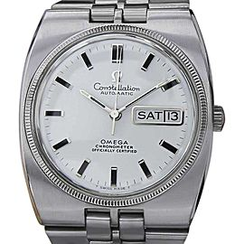 Omega Constellation 18K White Gold Stainless Steel Automatic Vintage 36mm Watch 1970