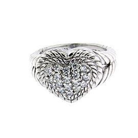 Judith Ripka 925 Sterling Silver with Cubic Zirconia Heart Ring Size 8