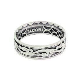 Tacori Platinum Sculpted Crescent Wedding Band Ring Size 10.25