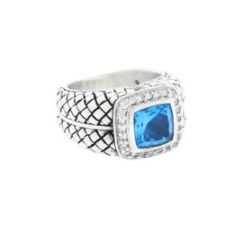 Scott Kay 925 Sterling Silver with 0.30ct Diamond & Blue Topaz Ring Size 6.5