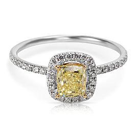 18K White Gold 0.88ctw Intense Yellow Radiant Cut Diamond Engagement Ring Size 6.75