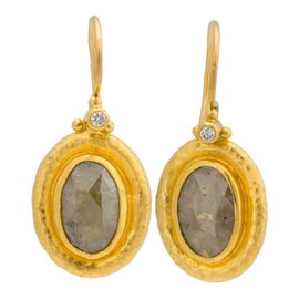 Gurhan 24K Yellow Gold with Champagne Diamond Earrings