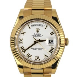 Rolex Day-Date II President 218238 18K Yellow Gold White 41mm Unisex Watch