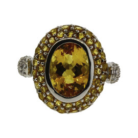 Levian 14K White Gold 0.30ct. Diamond & Citrine Ring Size 6.25