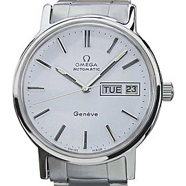 Omega Geneve Stainless Steel White Dial Automatic Vintage 35mm Mens Watch 1970s