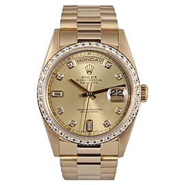 Rolex Day-Date 18038 18K Yellow Gold with Custom Diamond Automatic 36mm Mens Watch