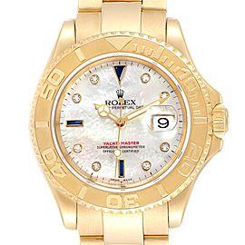 Rolex Yachtmaster Yellow Gold MOP Diamond Sapphire Serti Watch 16628