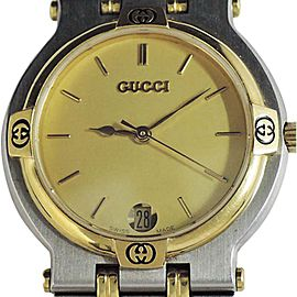 Gucci Date 9000m Two Tone Stainless Steel Quartz 32mm Mens Watch