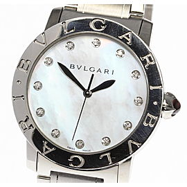 Bulgari BBL37S Stainless Steel with White Shell Dial and 12P Diamond Automatic 37mm Mens Watch