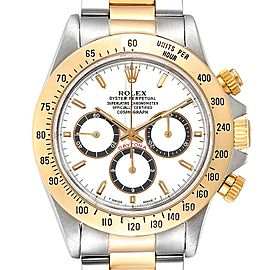 Rolex Daytona Steel Yellow Gold Inverted 6 White Dial Mens Watch 16523