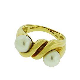 Bulgari 18K Yellow Gold Double Pearl Ring Size 6.75