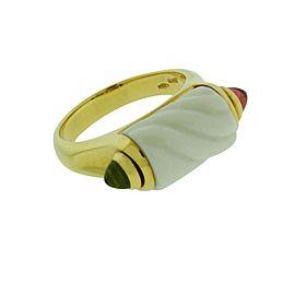 Bulgari 18K Yellow Gold with White Ceramic Peridot & Pink Tourmaline Ring Size 6