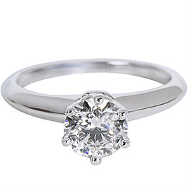Tiffany & Co. Solitaire PT950 Platinum with 0.82ct Solitaire Diamond Engagement Ring Size 4.25