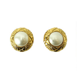Chanel Gold Tone Hardware with Fake Pearl Vintage Earrings