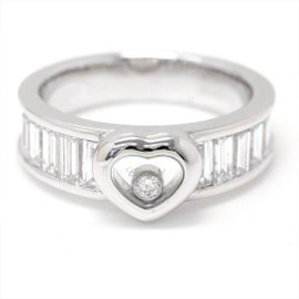 Chopard Happy Diamond 18K White Gold with Diamond Heart Ring Size 7.5