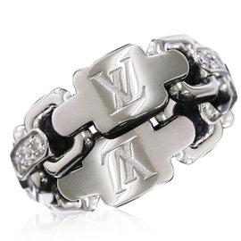 Louis Vuitton 18K White Gold & Diamond Berg Chain Attraction Ring Size 5