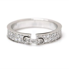 Chaumet Liens 18K White Gold and Diamond Evidence Ring Size 4
