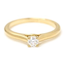 Cartier 18K Yellow Gold with 0.18ct Solitaire Diamond Ring Size 6